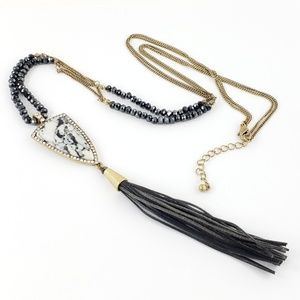 Artisan Necklace Pendant Leather Tassel Brass